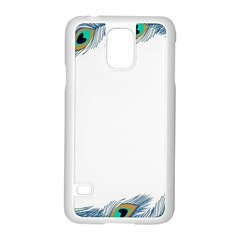 Beautiful Frame Made Up Of Blue Peacock Feathers Samsung Galaxy S5 Case (white)
