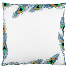 Beautiful Frame Made Up Of Blue Peacock Feathers Large Flano Cushion Case (Two Sides)