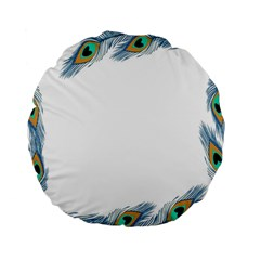 Beautiful Frame Made Up Of Blue Peacock Feathers Standard 15  Premium Flano Round Cushions