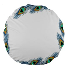 Beautiful Frame Made Up Of Blue Peacock Feathers Large 18  Premium Flano Round Cushions