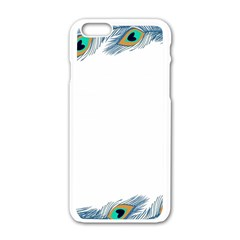 Beautiful Frame Made Up Of Blue Peacock Feathers Apple Iphone 6/6s White Enamel Case