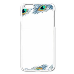 Beautiful Frame Made Up Of Blue Peacock Feathers Apple iPhone 6 Plus/6S Plus Enamel White Case