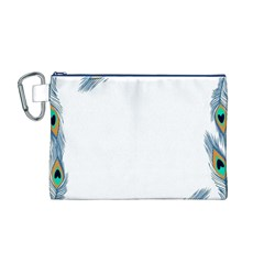 Beautiful Frame Made Up Of Blue Peacock Feathers Canvas Cosmetic Bag (M)