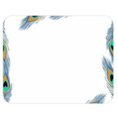 Beautiful Frame Made Up Of Blue Peacock Feathers Double Sided Flano Blanket (medium)
