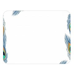 Beautiful Frame Made Up Of Blue Peacock Feathers Double Sided Flano Blanket (Large)