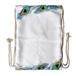 Beautiful Frame Made Up Of Blue Peacock Feathers Drawstring Bag (Large) Front