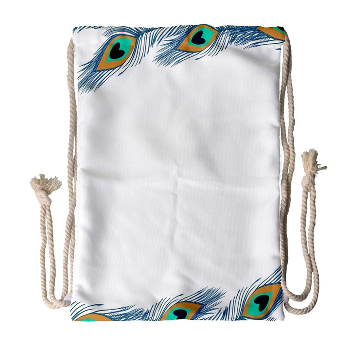 Beautiful Frame Made Up Of Blue Peacock Feathers Drawstring Bag (Large)