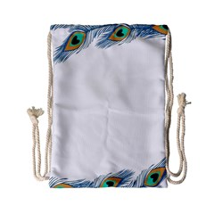 Beautiful Frame Made Up Of Blue Peacock Feathers Drawstring Bag (small)