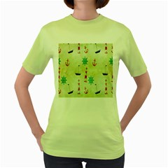 Vintage Seamless Nautical Wallpaper Pattern Women s Green T Shirt