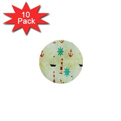 Vintage Seamless Nautical Wallpaper Pattern 1  Mini Buttons (10 Pack)