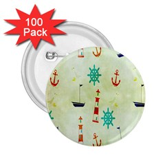 Vintage Seamless Nautical Wallpaper Pattern 2.25  Buttons (100 pack)