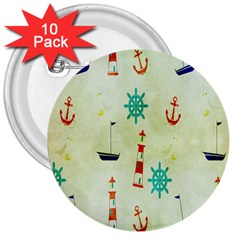 Vintage Seamless Nautical Wallpaper Pattern 3  Buttons (10 Pack)
