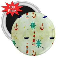 Vintage Seamless Nautical Wallpaper Pattern 3  Magnets (100 pack)