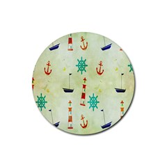 Vintage Seamless Nautical Wallpaper Pattern Rubber Round Coaster (4 Pack)