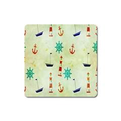 Vintage Seamless Nautical Wallpaper Pattern Square Magnet