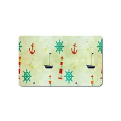 Vintage Seamless Nautical Wallpaper Pattern Magnet (Name Card)