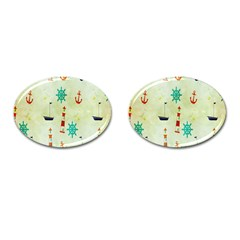 Vintage Seamless Nautical Wallpaper Pattern Cufflinks (Oval)