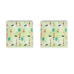 Vintage Seamless Nautical Wallpaper Pattern Cufflinks (square)