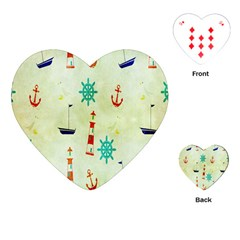 Vintage Seamless Nautical Wallpaper Pattern Playing Cards (Heart)