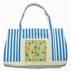 Vintage Seamless Nautical Wallpaper Pattern Striped Blue Tote Bag