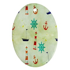 Vintage Seamless Nautical Wallpaper Pattern Oval Ornament (Two Sides)
