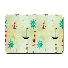 Vintage Seamless Nautical Wallpaper Pattern Small Doormat