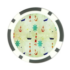 Vintage Seamless Nautical Wallpaper Pattern Poker Chip Card Guard