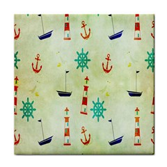 Vintage Seamless Nautical Wallpaper Pattern Face Towel