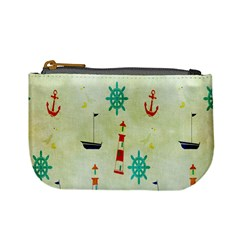 Vintage Seamless Nautical Wallpaper Pattern Mini Coin Purses