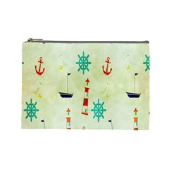 Vintage Seamless Nautical Wallpaper Pattern Cosmetic Bag (large)