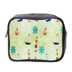 Vintage Seamless Nautical Wallpaper Pattern Mini Toiletries Bag 2 Side