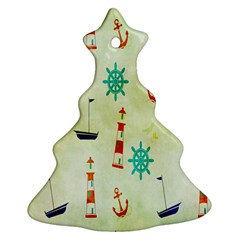 Vintage Seamless Nautical Wallpaper Pattern Christmas Tree Ornament (Two Sides)