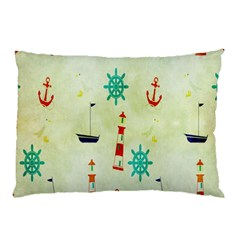 Vintage Seamless Nautical Wallpaper Pattern Pillow Case (Two Sides)