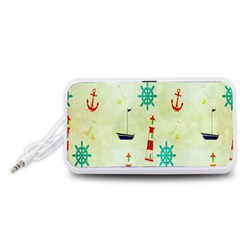 Vintage Seamless Nautical Wallpaper Pattern Portable Speaker (White)