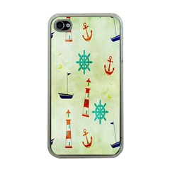 Vintage Seamless Nautical Wallpaper Pattern Apple iPhone 4 Case (Clear)