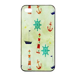 Vintage Seamless Nautical Wallpaper Pattern Apple iPhone 4/4s Seamless Case (Black)