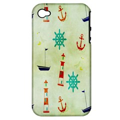 Vintage Seamless Nautical Wallpaper Pattern Apple Iphone 4/4s Hardshell Case (pc+silicone)