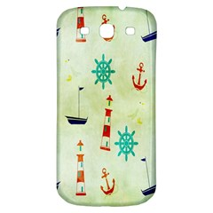 Vintage Seamless Nautical Wallpaper Pattern Samsung Galaxy S3 S III Classic Hardshell Back Case