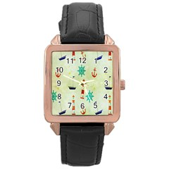 Vintage Seamless Nautical Wallpaper Pattern Rose Gold Leather Watch