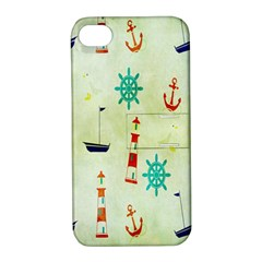Vintage Seamless Nautical Wallpaper Pattern Apple iPhone 4/4S Hardshell Case with Stand
