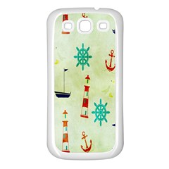 Vintage Seamless Nautical Wallpaper Pattern Samsung Galaxy S3 Back Case (White)