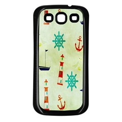 Vintage Seamless Nautical Wallpaper Pattern Samsung Galaxy S3 Back Case (Black)