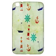 Vintage Seamless Nautical Wallpaper Pattern Samsung Galaxy Tab 3 (8 ) T3100 Hardshell Case