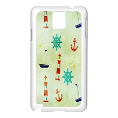 Vintage Seamless Nautical Wallpaper Pattern Samsung Galaxy Note 3 N9005 Case (White)
