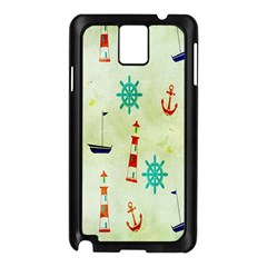 Vintage Seamless Nautical Wallpaper Pattern Samsung Galaxy Note 3 N9005 Case (Black)
