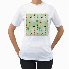 Vintage Seamless Nautical Wallpaper Pattern Women s T-Shirt (White)