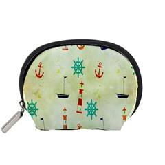 Vintage Seamless Nautical Wallpaper Pattern Accessory Pouches (Small)