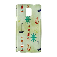 Vintage Seamless Nautical Wallpaper Pattern Samsung Galaxy Note 4 Hardshell Case