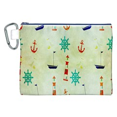 Vintage Seamless Nautical Wallpaper Pattern Canvas Cosmetic Bag (XXL)