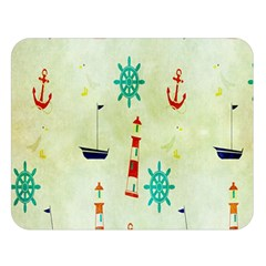 Vintage Seamless Nautical Wallpaper Pattern Double Sided Flano Blanket (Large)